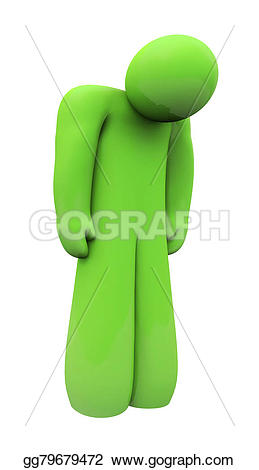 Emotions clipart depressed Green 3d Illustration down alone