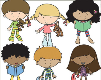 Emotions clipart happy group Set Kids kids cute pajamas