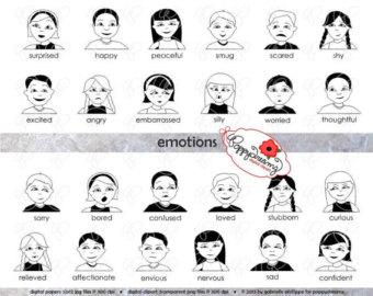 Feeling clipart digital Set Emotions Image dpi) School