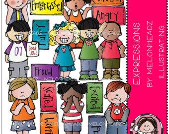 Emotions clipart melonheadz Etsy clip art Melonheadz Expressions