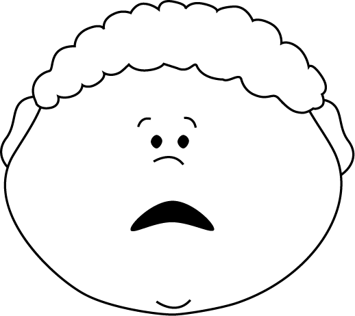 Emotions clipart scared face Scared Art and and White