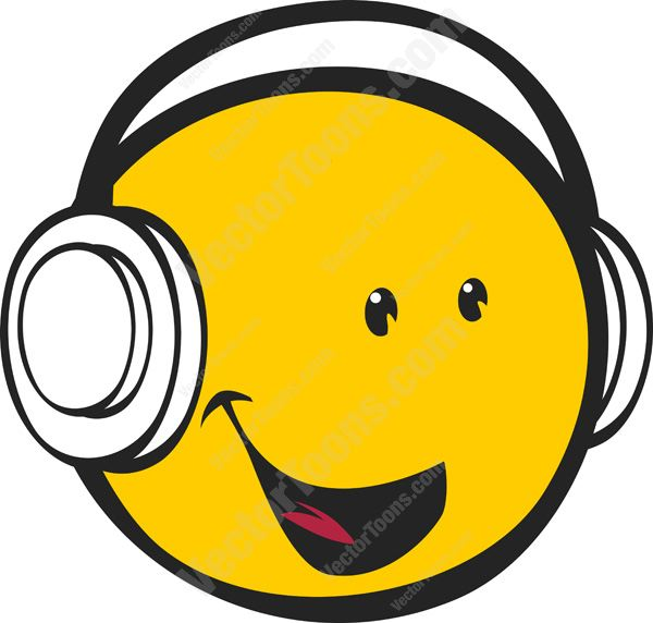 Smileys clipart happy emotion Wearing #expression Facing Face Headphones
