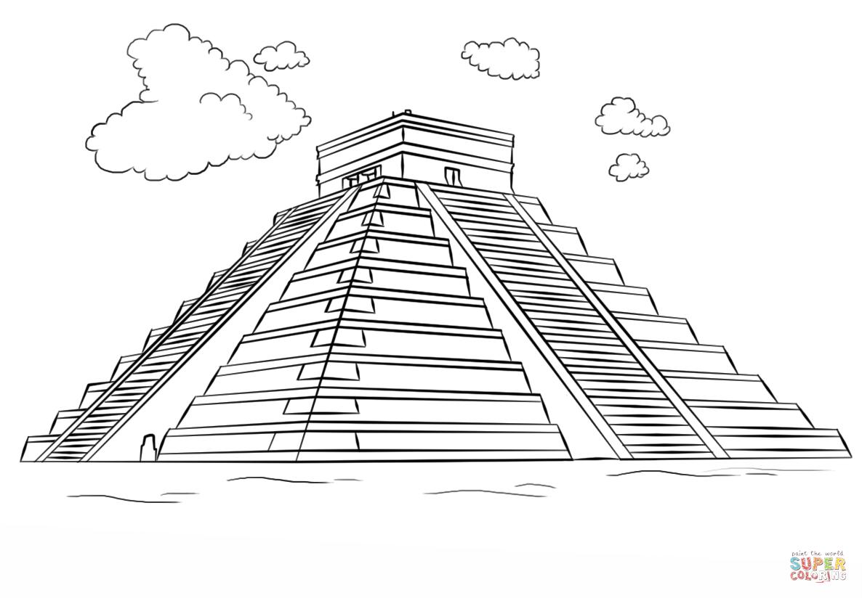 Drawn pyramid mayan pyramid Free Chichen coloring  Itza