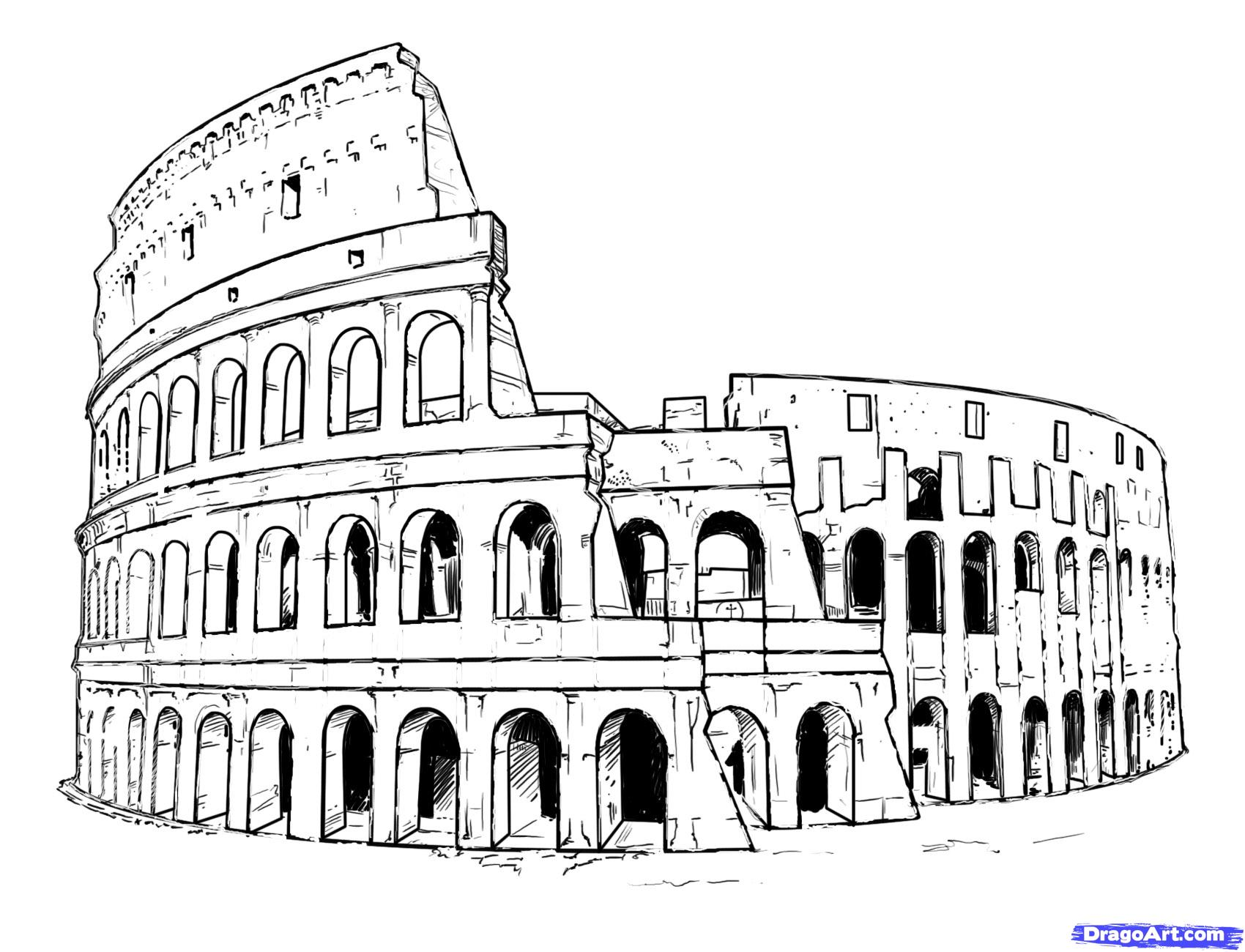 Architecture clipart colosseum Draw Step by Landmarks Step