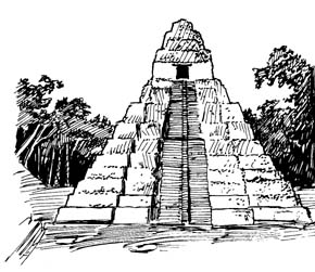 Drawn pyramid mayan temple In Haunted Search  Ruins