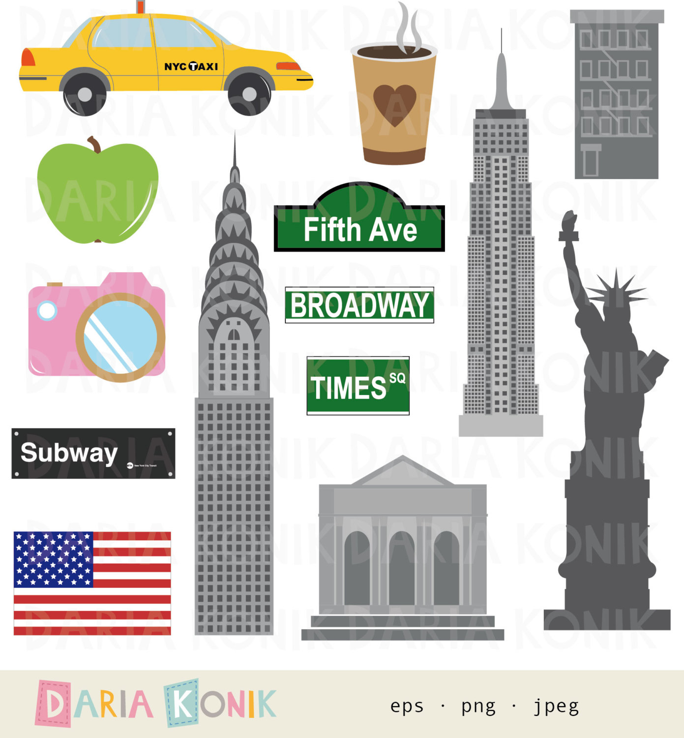 New York clipart New York Buildings Clipart York eps Set download New