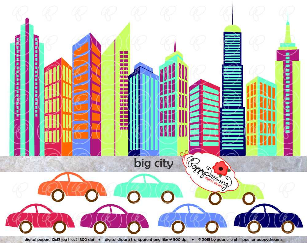 Skyscraper clipart one Colorful Cars City Buildings Automobile