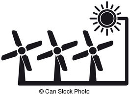 Energy clipart black and white  of windmill energy symbol