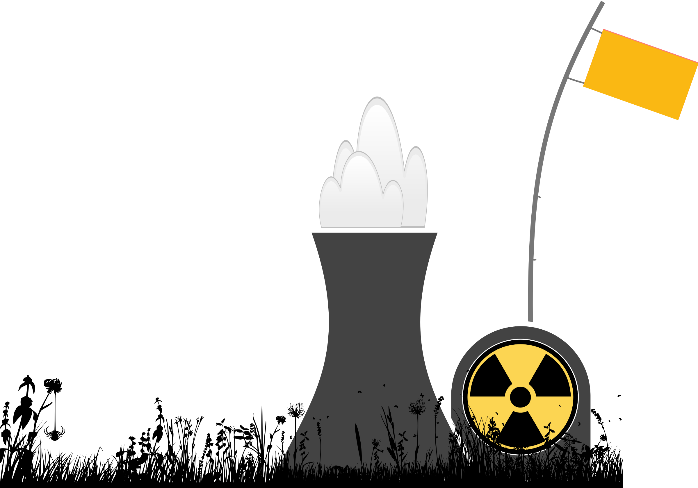Explosions clipart nuclear power plant Plant with plant silhouette grass