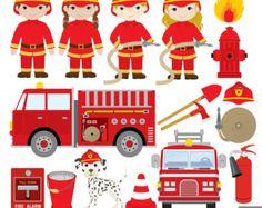 Fire Truck clipart digital Firefighter Engine Clipart Art Fire