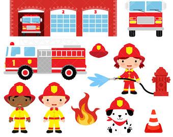 Engine clipart fireman Etsy clip Fire art /
