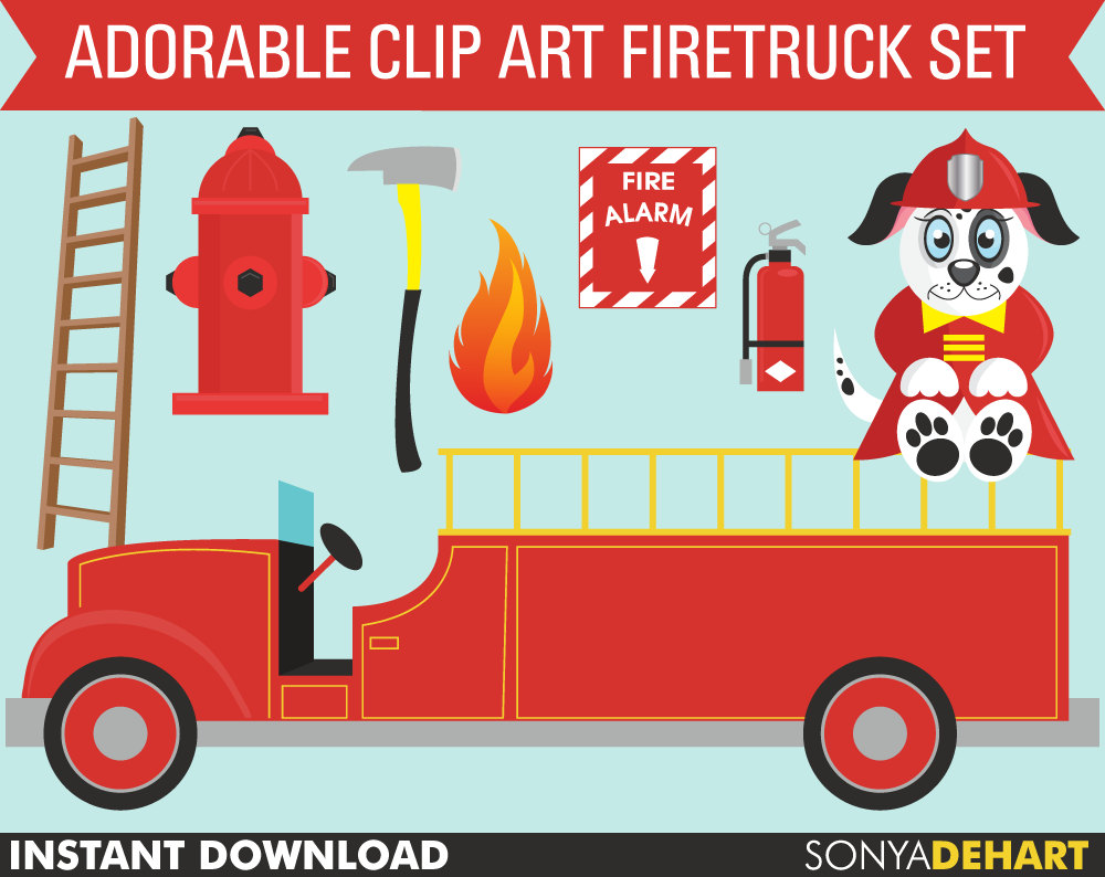 Fire Truck clipart commercial Etsy Fireman clipart Fire OFF