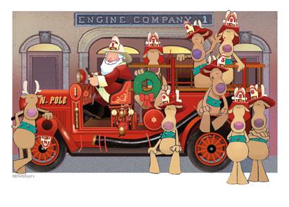 Engine clipart fireman Clipart santa Fireman Santa Christmas