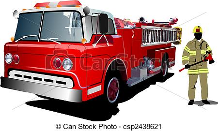Fire Truck clipart logo Vector and on Art isolated