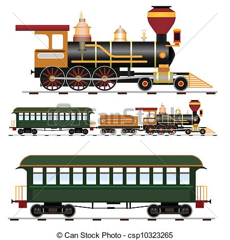 Locomotive clipart train carriage Vector of with train Steam