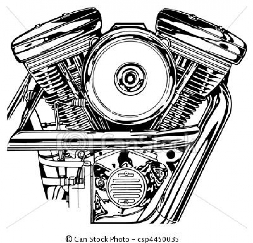 Engine clipart graphic Bestharley engine clip twin illustration
