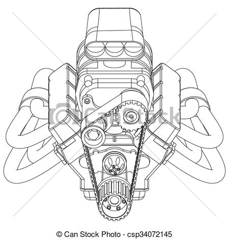 Engine clipart hot rod Schematic of Rod Hot