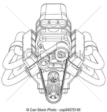 Engine clipart hot rod Engine Schematic csp34072145 Vector EPS