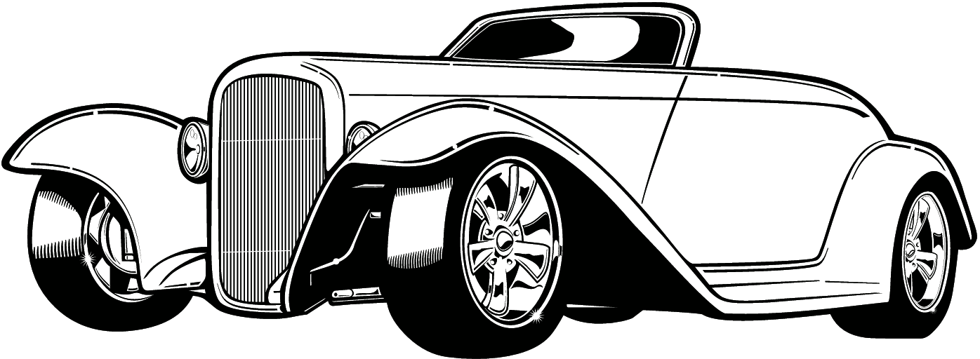 Classic Car clipart line art ) (Sunday ♡ DRAWINGS rod
