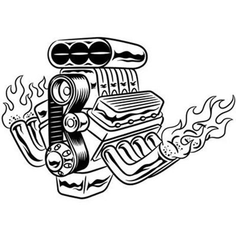 Engine clipart hot rod Hot Rod Curtain Engine TheFantasticShirtandMoreShop