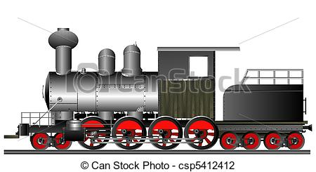 Railways clipart old train Old locomotive Old of style