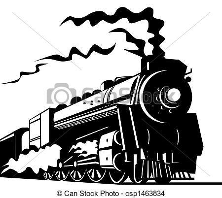 Locomotive clipart vintage train On transport of  Steam