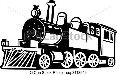 Steam clipart old train And black and black vintage