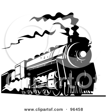 Locomotive clipart black and white And White White The and