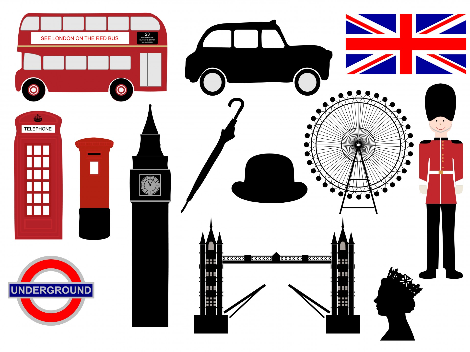London clipart Set UK Londra England clipart