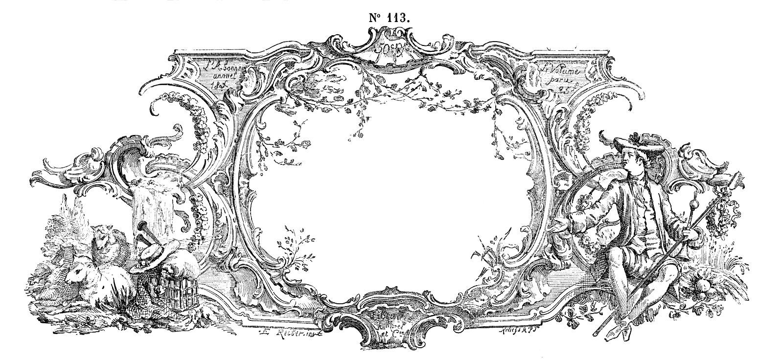 Engraving clipart ornament Engraving  French Frame Art