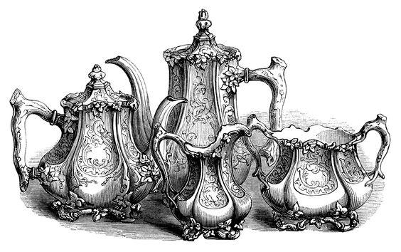 Engraving clipart food Clip tea set vintage Art