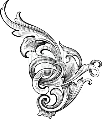 Engraving clipart acanthus leaf Vector Art Growth Vector Royalty