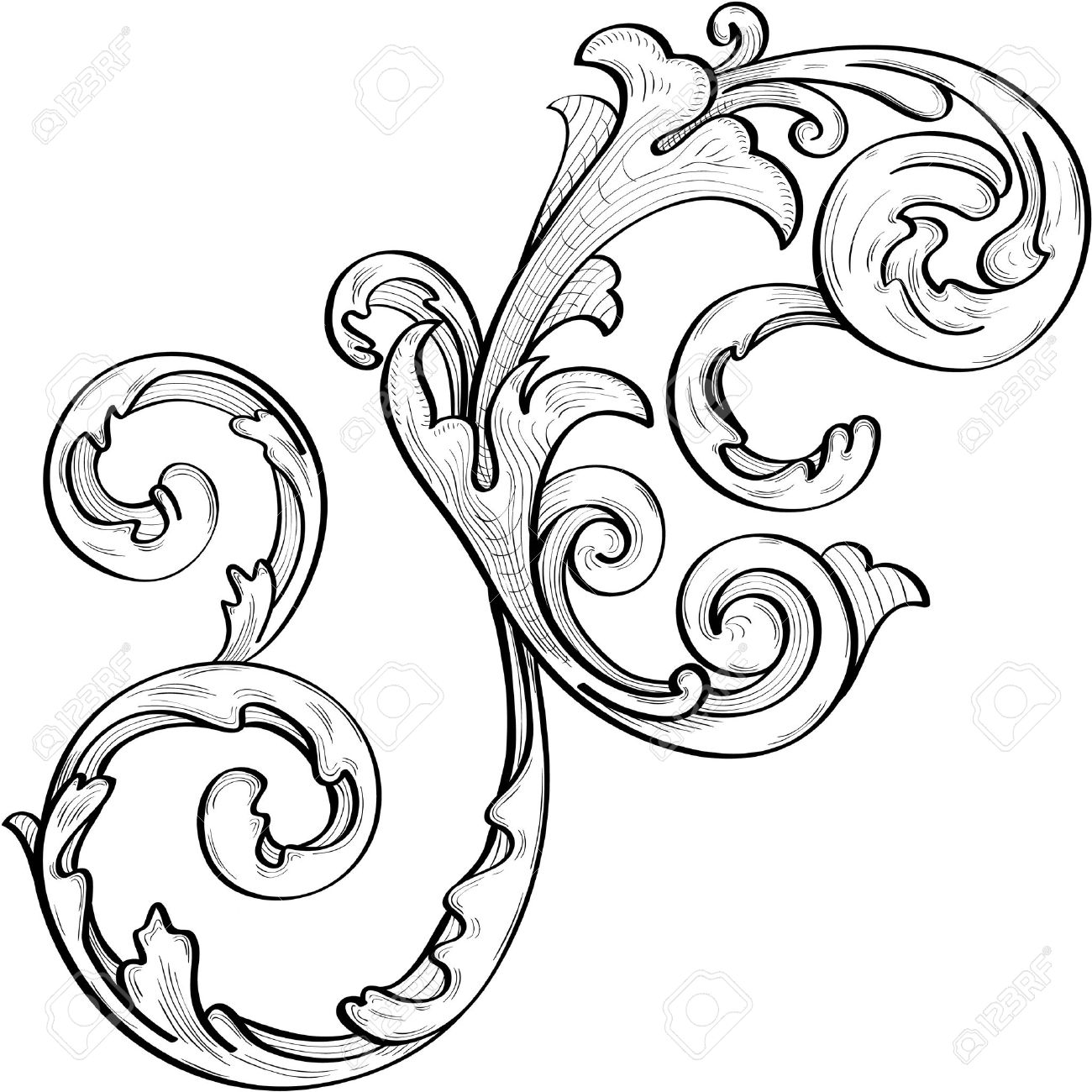 Engraving clipart acanthus leaf Royalty Royalty Nice Leaves Vectors