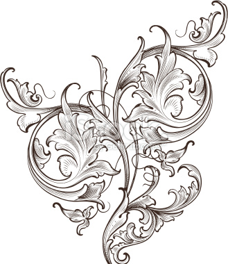 Engraving clipart acanthus leaf Engraved Wide Free Illustration Scroll