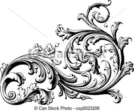 Classical clipart floral scroll #1