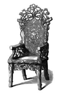 Furniture clipart old chair Engraving white art old fashioned