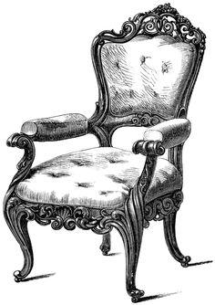 Drawn sofa antic ETC ClipArt  Engraving ~