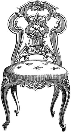 Furniture clipart old chair White art and black Clip