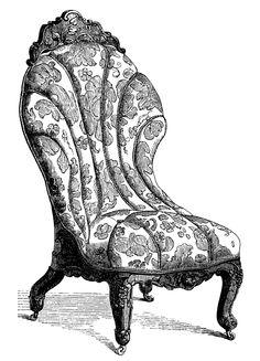 Furniture clipart vintage chair Victorian vintage living furniture art