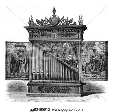 Engraving clipart church organ  london magasin pittoresque century