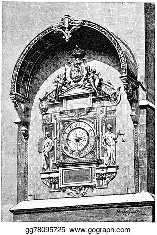 Engraving clipart clock Drawing tower vintage in The