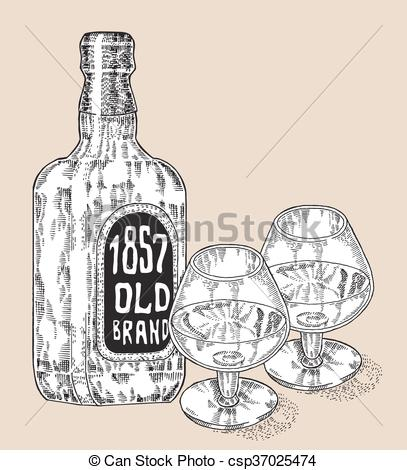 Engraving clipart drink glass Whiskey style glasses Vectors Bottle