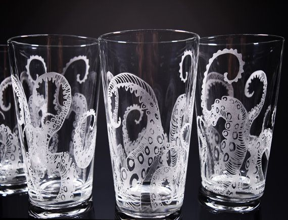 Engraving clipart drink glass Drinking 25+ Etched glass Octopus