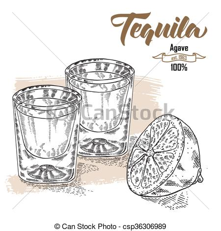 Engraving clipart drink glass Tequila tequila style glasses