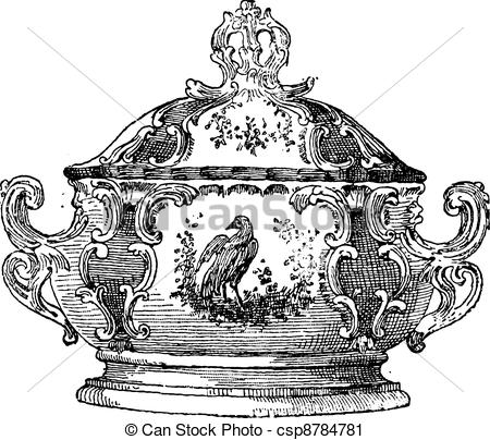 Engraving clipart food A serving  Tureen of