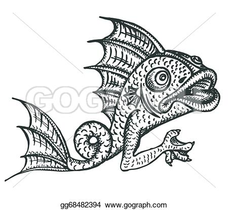 Engraving clipart ornament EPS medieval gargoyle Art