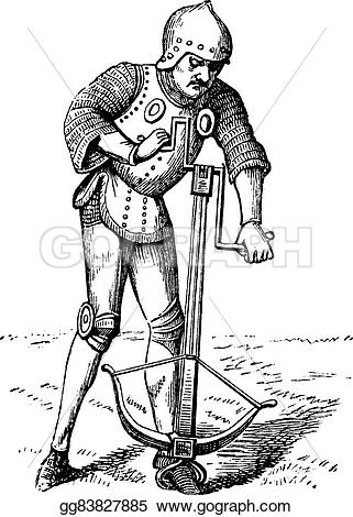 Engraving clipart medieval Vector  soldier crossbow vintage