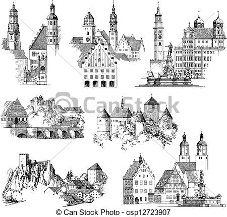 Engraving clipart medieval Medieval Drawing buildings Vector urban