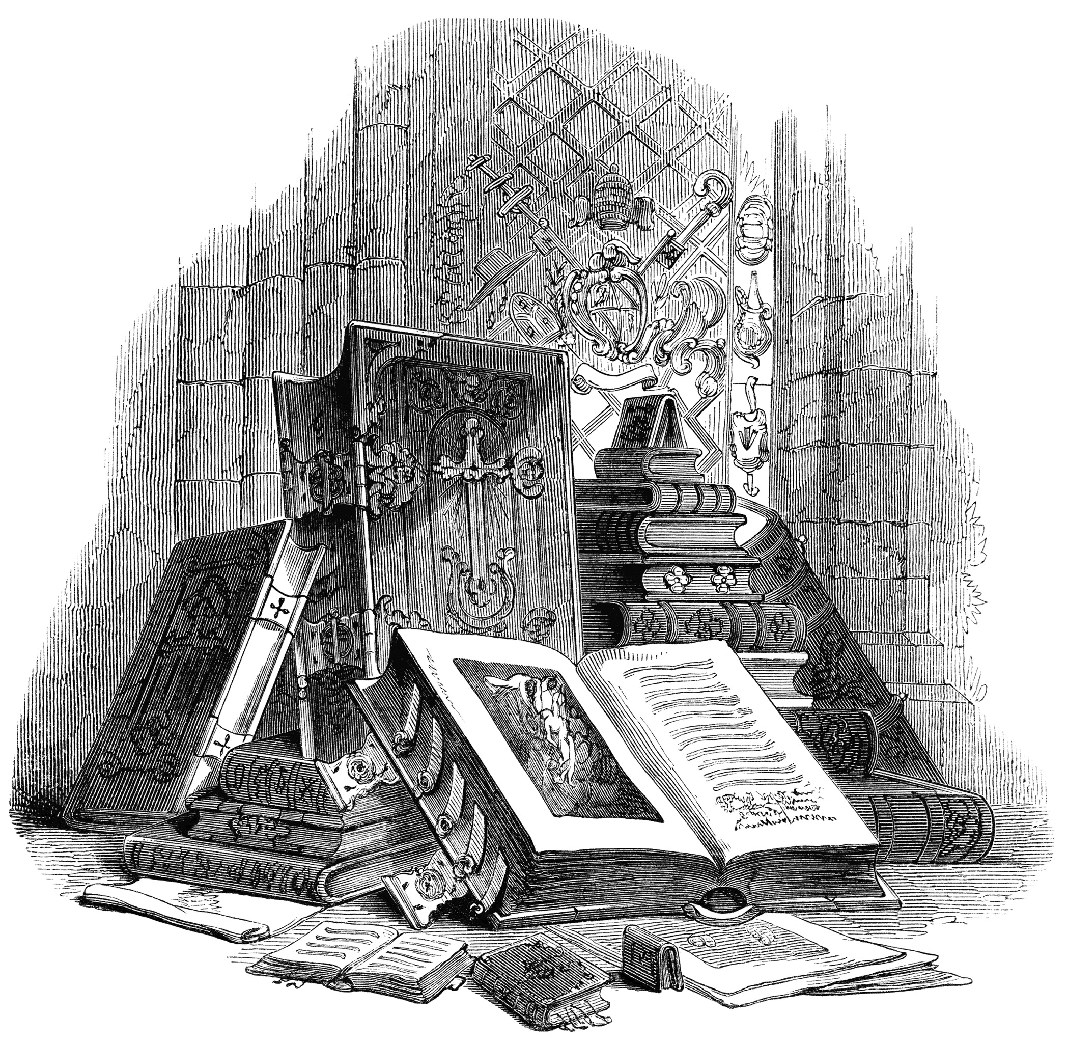 Engraving clipart old Victorian Books And Old White