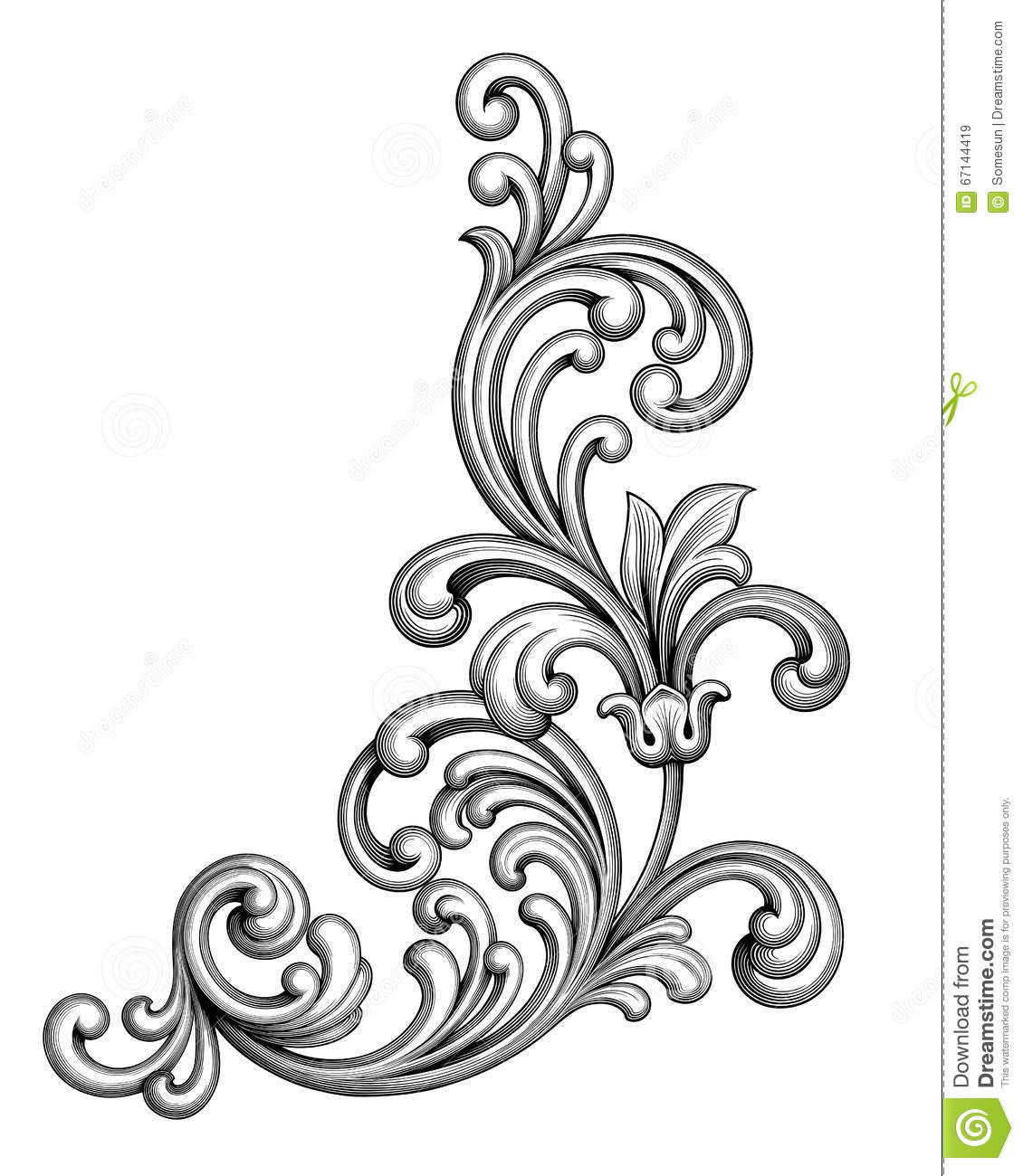 Engraving clipart ornament Scroll Border Ornament Victorian Baroque